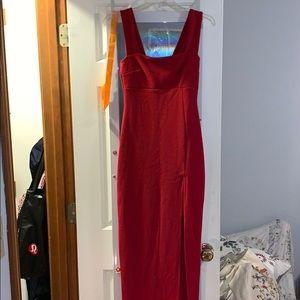 red square neck body con maxi dress